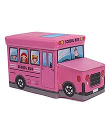 Storage Box With School Bus Design - Pink