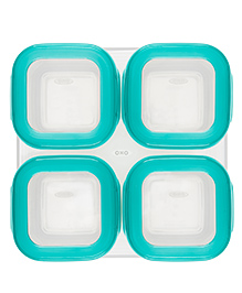 Oxo Tot Baby Blocks Freezer Storage Containers 4 Oz Teal Blue - Pack Of 4