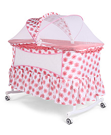 Baby Cradle Cum Rocker With Mosquito Net Floral Print - White Pink
