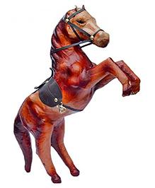 Desi Karigar Leather Horse Showpiece - Brown