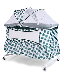 Baby Cradle Cum Rocker With Mosquito Net Floral Print - White Green