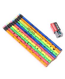 Nataraj Fluro Prints Pencil Set With Eraser & Sharpener Multicolour - 12 Pieces