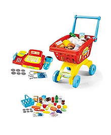 Toys Bhoomi 2 In 1 Supermarket Cashier & Shopping Trolley Set With Light & Sound - 45 Pieces