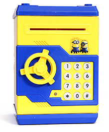 Toys Bhoomi Password Protected Electronic Mini Piggy ATM Bank Depositor With Light & Sound - Blue