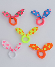 Babyhug Hair Rubber Band With Bow Set Of 5 - Multicolor