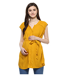 Wobbly Walk Plain Maternity Shirt With Free Gift Pouch - Yellow