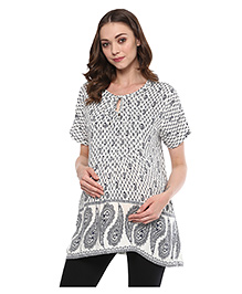 Wobbly Walk Half Sleeves Maternity Top Paisley Print - White Grey