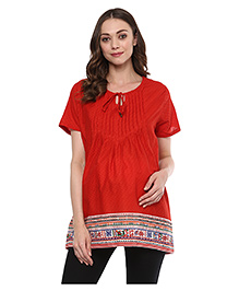 Wobbly Walk Half Sleeves Maternity Top Paisley Print - Red
