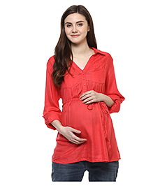 Wobbly Walk Full Sleeves Collar Neck Solid Colour Maternity Top - Pink