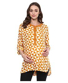 Wobbly Walk Full Sleeves Maternity Tunic Abstract  Print - Mustard Yellow