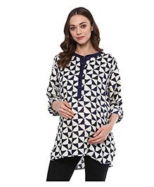 Wobbly Walk Full Sleeves Maternity Tunic Abstract  Print - Navy