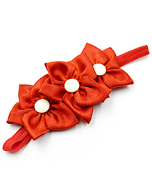 Magic Needles Elastic Hairband With 3 Flowers - Red