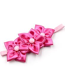 Magic Needles Elastic Hairband With 3 Flowers - Dark Pink