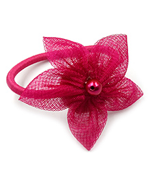 Magic Needles Rubber Band With 5 Petal Flower - Dark Pink
