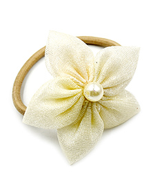 Magic Needles Rubber Band With 5 Petal Flower - Off White