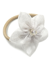 Magic Needles Rubber Band With 5 Petal Flower - White