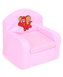 Luvely We Play Kids Sofa Chair Elephant Embroidery - Pink