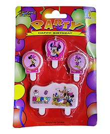 Funcart Minnie Mouse Themed Cake Topper Birthday Candles Pack Of 4 - Pink