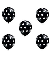 Funcart Polka Dot Printed Balloons Black - Pack Of 5