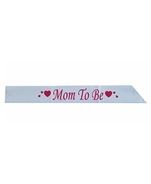 Funcart Mom To Be Sash With Heart Print - Light Blue