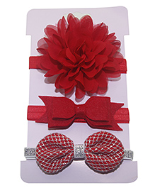 Little Palz Hair Bands Set Of 3 Floral & Bow Motif - Red