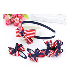 Little Palz Hair Accessories Stripes Print Set Of 5 - Red Blue