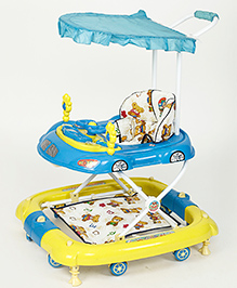 Dash Oscar Musical Baby Walker Cum Rocker With Canopy - Blue Yellow