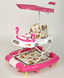 Dash Oscar Musical Baby Walker Cum Rocker With Canopy - Pink White