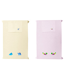 Baby Rap Crib Sheet With Pillow Cover Dino & Bees Embroidery Pack Of 2 - Yellow & Pink