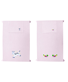 Baby Rap Crib Sheet With Pillow Cover Cow & Bees Embroidery Pack Of 2 - Pink