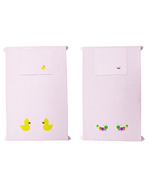 Baby Rap Crib Sheet With Pillow Cover Ducky & Bees Embroidery Pack Of 2 - Pink