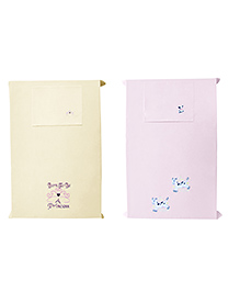 Baby Rap Crib Sheet With Pillow Cover Born To Be Princess & Cows Embroidery Pack Of 2 - Pink