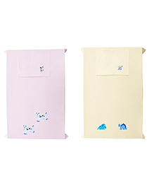 Baby Rap Crib Sheet With Pillow Cover Calf & Dino Embroidery Pack Of 2 - Pink