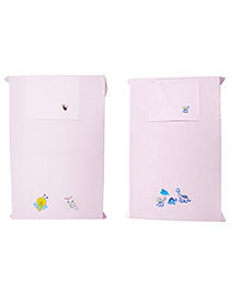 Baby Rap Crib Sheet With Pillow Cover Dino & Bees Embroidery Pack Of 2 - Pink