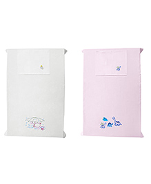 Baby Rap Crib Sheet & Pillow Cover Dino & Duck Embroidery Pack Of 2 - Pink White