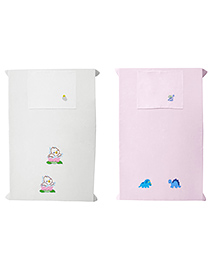 Baby Rap Crib Sheet & Pillow Cover Dino And Ducklings Embroidery Pack Of 2 - Pink White