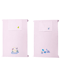 Baby Rap Crib Sheet & Pillow Cover Dino & Mama Duck Embroidery Pack Of 2 - Pink
