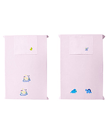 Baby Rap Crib Sheet & Pillow Cover Dino & Baby Duck Embroidery Pack Of 2 - Pink