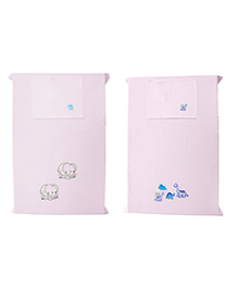 Baby Rap Crib Sheet & Pillow Cover Dino And Elephant Embroidery Pack Of 2 - Pink