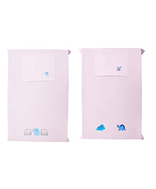 Baby Rap Crib Sheet & Pillow Cover Elephant And Dinosaur Embroidery Pack Of 2 - Pink