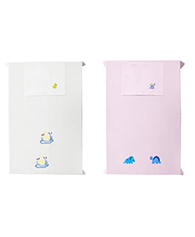 Baby Rap Crib Sheet & Pillow Cover Duck And Dino Party Embroidery Pack Of 2 - White Pink