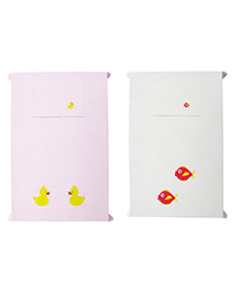 Baby Rap Crib Sheet & Pillow Cover Duck And Fish Embroidery Pack Of 2 - White Pink
