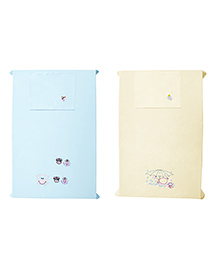 Baby Rap Crib Sheet & Pillow Cover Cow And Snail Embroidery Pack Of 2 - White Blue - 2085320