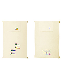 Baby Rap Crib Sheet With Pillow Cover Train & Duck Embroidery Pack Of 2 - Yellow
