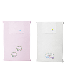Baby Rap Crib Sheet With Pillow Cover Duck & Elephant Embroidery Pack Of 2 - Pink White