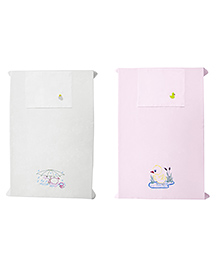 Baby Rap Crib Sheet With Pillow Cover Ducks Embroidery Pack Of 2 - White Pink