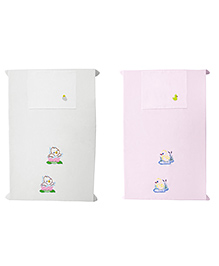 Baby Rap Crib Sheet With Pillow Cover Duckling's Embroidery Pack Of 2 - Pink White