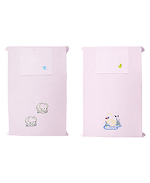 Baby Rap Crib Sheet With Pillow Cover Mama Duck & Elephants Embroidery Pack Of 2 - Pink
