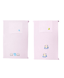 Baby Rap Crib Sheet With Pillow Cover Baby Duck & Elephant Embroidery Pack Of 2 - Pink