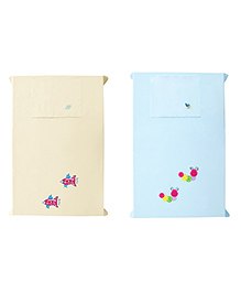 Baby Rap Crib Sheet With Pillow Cover Space Ships & Snails Embroidery Pack Of 2 - Blue Yellow